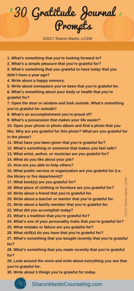 30 Gratitude Journal Prompts. Free gratitude journal ideas.