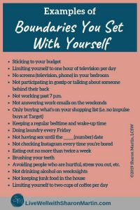 Examples of Boundaries You Set With Yourself