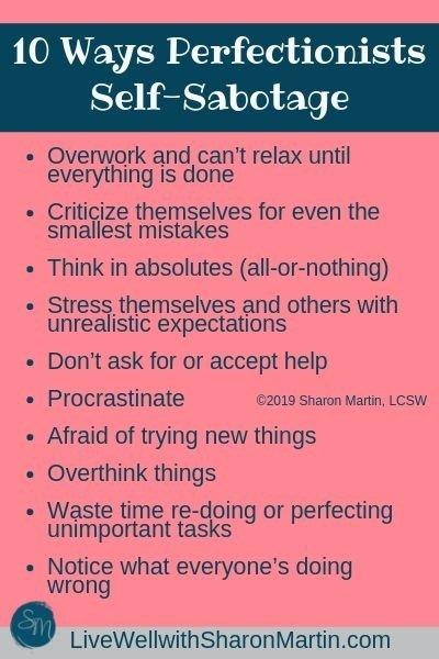 10 ways perfectionists self-sabotage #perfectionism #selfsabotage