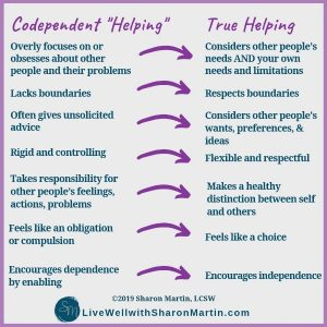 codependent helping vs. healthy helping