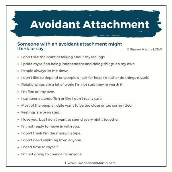 avoidant attachment examples