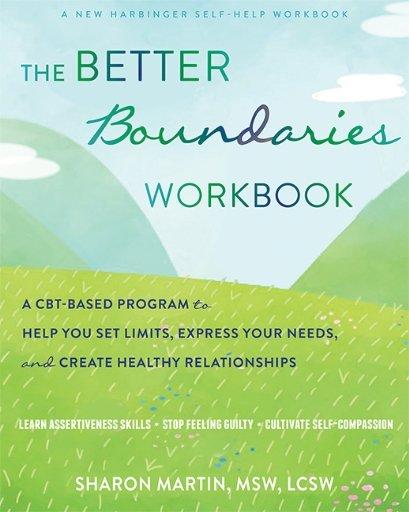 cover of The Better boundaries workbook, green grass, hills, blue sky