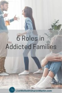 6 roles in addicted families. Child hiding while parents argue.